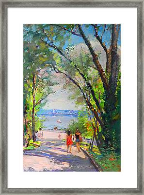 Nyack Park A Beautiful Day For A Walk Framed Print by Ylli Haruni