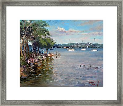Nyack Park By Hudson River Framed Print by Ylli Haruni