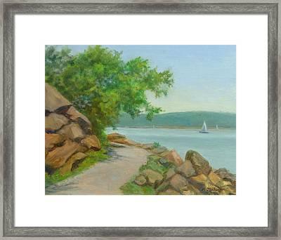 Nyack Trail Along The Hudson Framed Print by Phyllis Tarlow