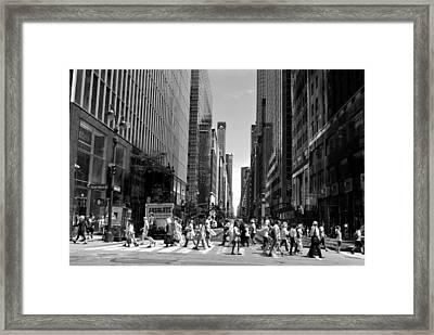 Nyc 42nd Street Crosswalk Framed Print