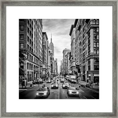 Nyc 5th Avenue Monochrome Framed Print by Melanie Viola