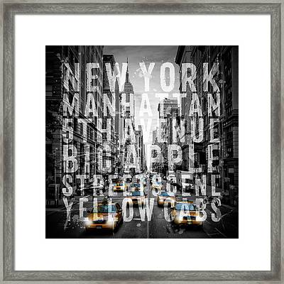 Nyc 5th Avenue Yellow Cabs Typography II Framed Print by Melanie Viola