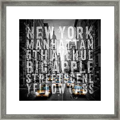 Nyc 5th Avenue Traffic Typography II Framed Print by Melanie Viola