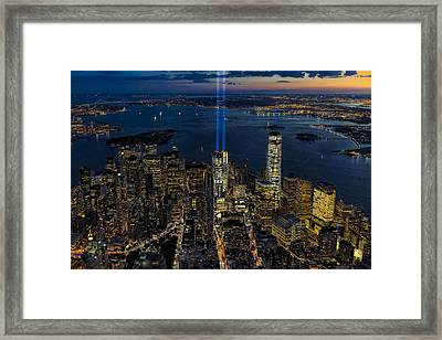Nyc 911 Tribute In Lights Framed Print by Susan Candelario
