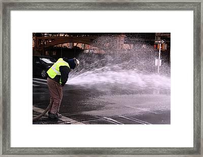 Nyc At Work Framed Print by Mark Ashkenazi
