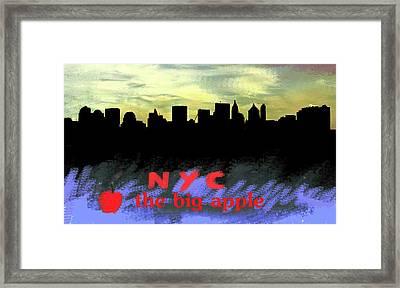 Nyc Big Apple Skyline  Framed Print by Enki Art