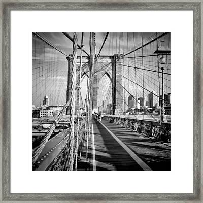 Nyc Brooklyn Bridge Monochrome Framed Print