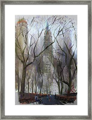 Nyc Central Park 1995 Framed Print by Ylli Haruni