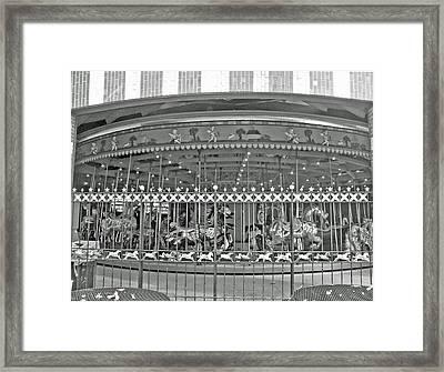 Nyc Central Park Carousel Framed Print by Barbara McDevitt