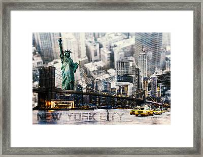 Framed Print featuring the photograph Nyc - Collage by Hannes Cmarits