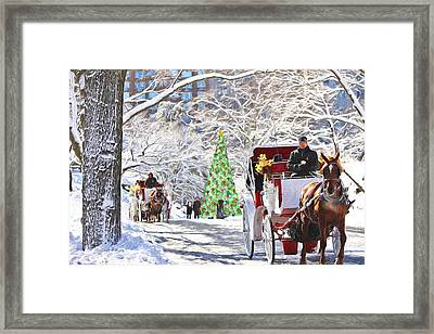 Festive Winter Carriage Rides Framed Print by Sandi OReilly