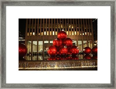 Nyc Giant Christmas Tree Ornament At Night Framed Print by John Telfer