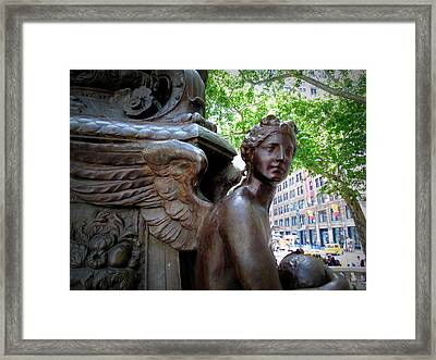 Nyc Library Angel Framed Print
