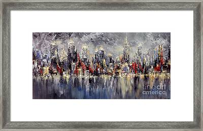 Nyc Lights Framed Print by Tatiana Iliina