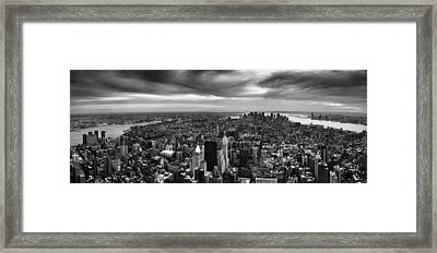 Nyc Manhattan Panorama Framed Print by Nina Papiorek