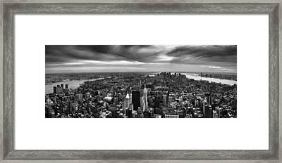 Nyc Manhattan Panorama Framed Print by Nina Papiorek