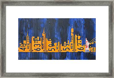 Nyc New York City Skyline With Lady Liberty And Freedom Tower Recycled License Plate Art Framed Print