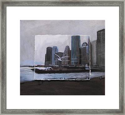 Nyc Pier 11 Layered Framed Print by Anita Burgermeister