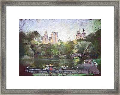 Nyc Resting In Central Park Framed Print by Ylli Haruni