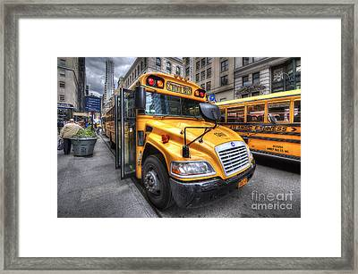Nyc School Bus Framed Print by Yhun Suarez