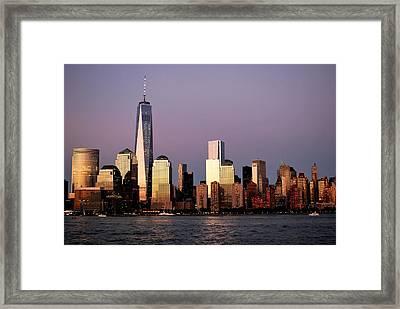 Nyc Skyline At Dusk Framed Print