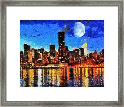 Nyc Skyline At Night Framed Print