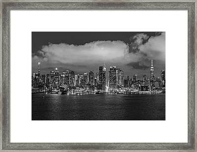 Nyc Skyline At Night Bw Framed Print by Susan Candelario