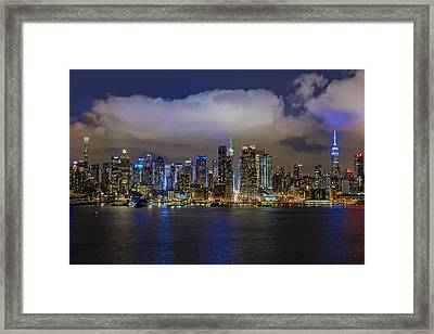 Nyc Skyline At Night Framed Print by Susan Candelario