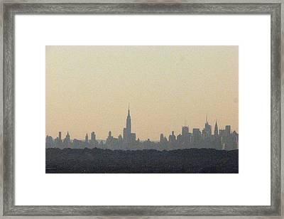 Nyc Skyline At Sunset Framed Print