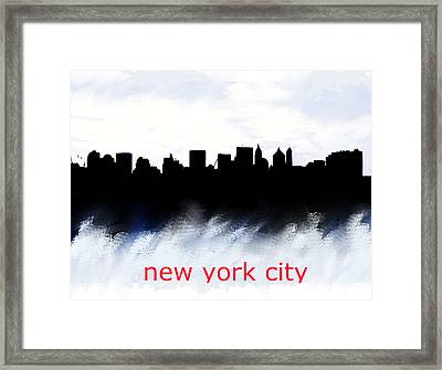 Nyc Skyline Blue And Red  Framed Print by Enki Art