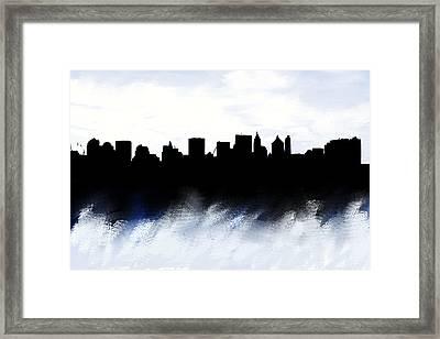 Nyc Skyline Monochrome 1 Framed Print by Enki Art
