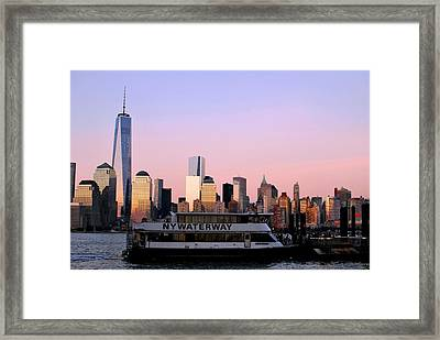 Nyc Skyline With Boat At Pier Framed Print