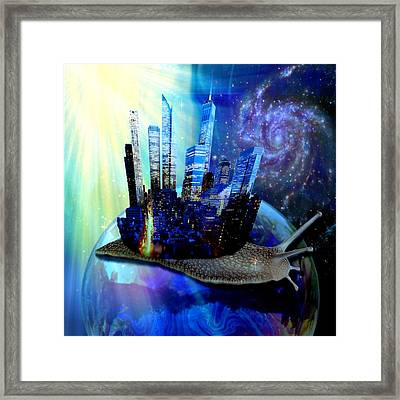 Nyc Snail - Day And Night Framed Print