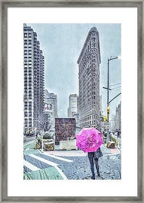 Nyc Snowy Scene Framed Print