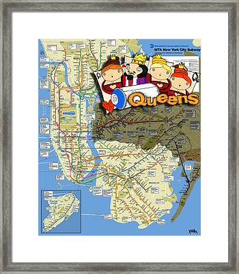 Nyc Subway Map Queens Framed Print by Turtle Caps