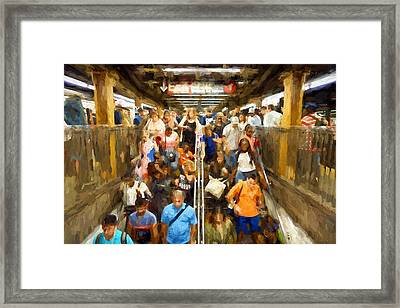 Nyc Subway Framed Print by Matthew Ashton