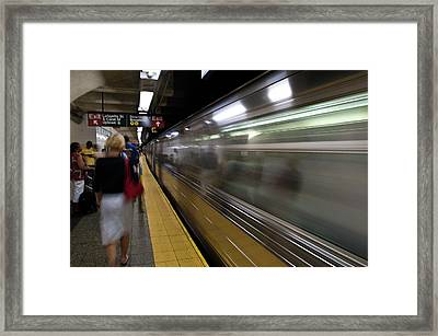 Nyc Subway Framed Print by Sebastian Musial