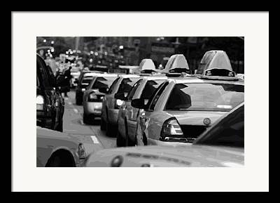 Getting A Cab In The Center Of The Universe Framed Prints
