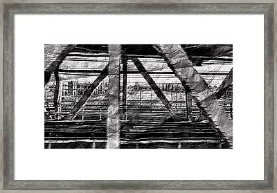 Framed Print featuring the photograph Nyc Train Bridge Tracts by Joan Reese