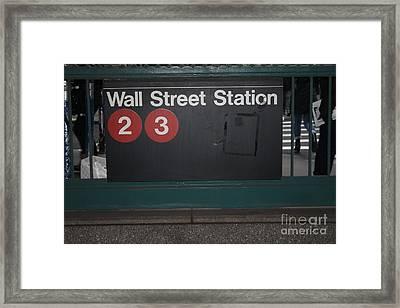 Nyc Wall Street Subway Entrance Framed Print
