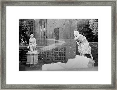 Nyc Whispering Statues Framed Print