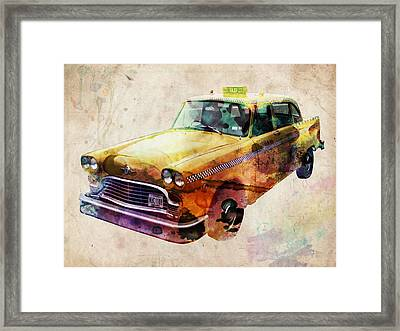 Nyc Yellow Cab Framed Print by Michael Tompsett