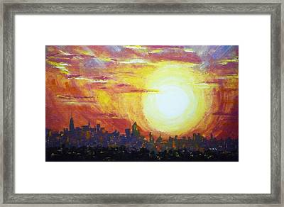 Nycity Sunset Framed Print by Patti Bean