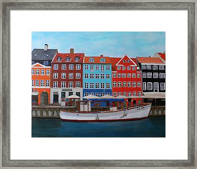 Framed Print featuring the painting Nyhavn Copenhagen by Deborah Boyd