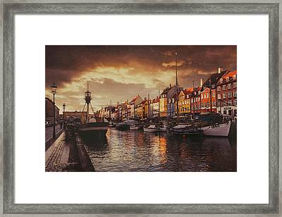 Nyhavn Sunset Copenhagen Framed Print by Carol Japp