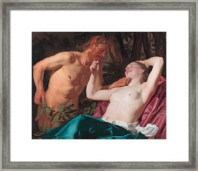 Nymph And Satyr Framed Print by Gerrit van Honthorst