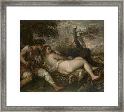 Nymph And Shepherd  Framed Print by Titian