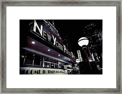 Nypd In Lights Framed Print