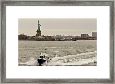 Nypd Motor Boat. Framed Print