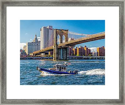 Nypd On East River Framed Print